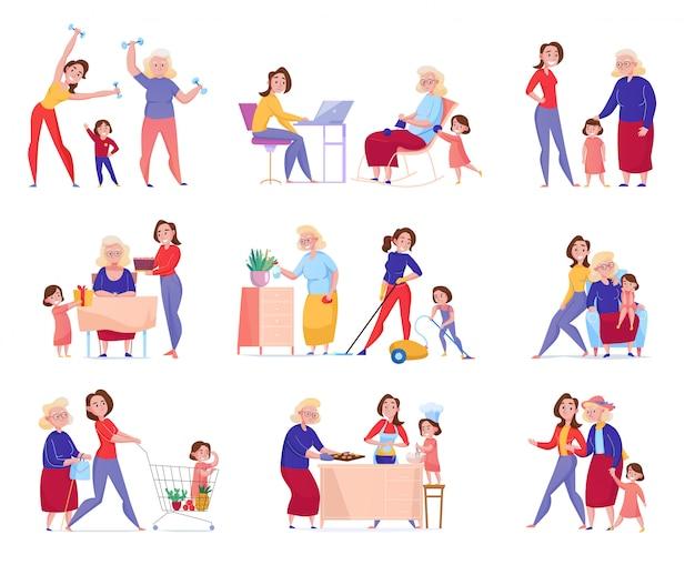 Plano isolado mulheres geração avó mãe filha ícone definido com a família na ilustração momentos Vetor grátis