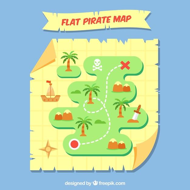 Plano pirata mapa Vetor grátis