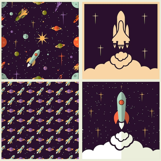 Planos de fundo de planetas, foguetes e estrelas em estilos diferentes Vetor grátis