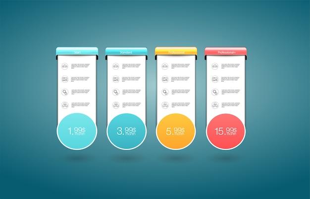 Planos de tarifas e preços. modelo de plano de preços de escolha. Vetor Premium