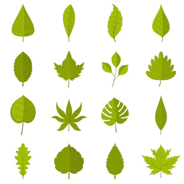 Plant folheia ícones definido em estilo simples Vetor Premium