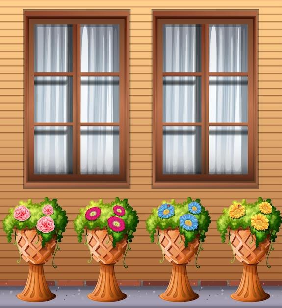 Planta ao ar livre sob a janela Vetor grátis