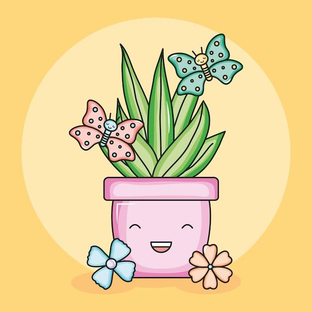 Planta da casa em vaso de cerâmica com borboletas estilo kawaii Vetor Premium