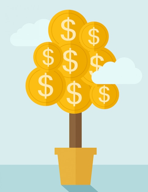 Planta de dinheiro em uma panela. Vetor Premium