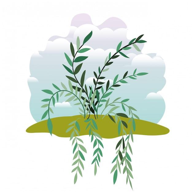 Planta, em, paisagem, isolado Vetor Premium