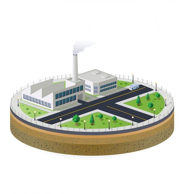 Planta industrial isométrica Vetor Premium