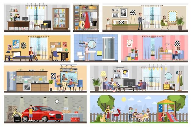 Planta interior de construção de casa com garagem. casa com cozinha e banheiro, quarto e sala. churrasco no quintal. ilustração Vetor Premium