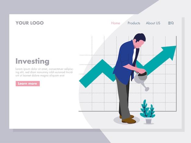 Planta molhando do homem que investing a ilustração para a página de aterrissagem Vetor Premium