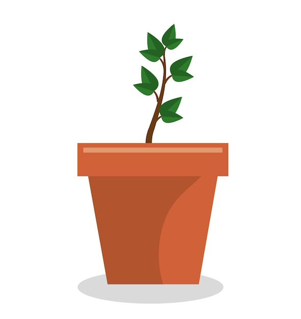 Planta pote jardim isolado ícone vector ilustração design Vetor Premium