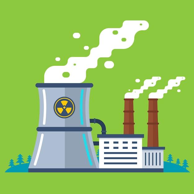 Planta radioativa com um cano. produção de energia barata. Vetor Premium