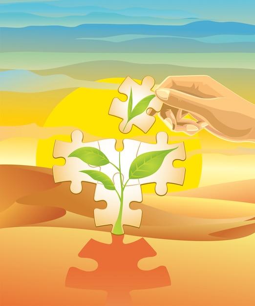 Plantando uma árvore no deserto. Vetor Premium