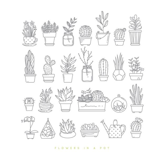 Plantas ajustadas do plano do ícone nos potenciômetros que tiram no fundo branco. Vetor Premium