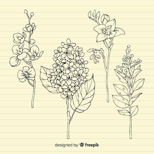 Plantas com folhas no fundo de papel retrô Vetor grátis