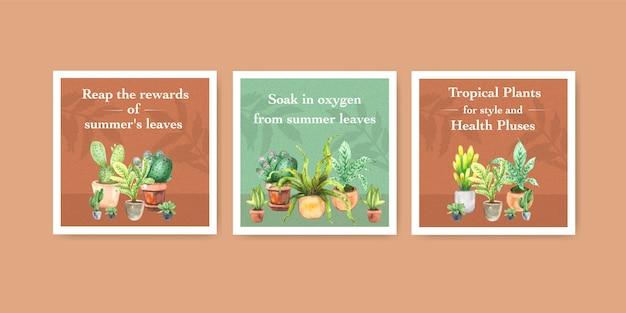 Plantas de verão e plantas da casa anunciam modelo de design para folheto, ilustração em aquarela de livreto Vetor grátis