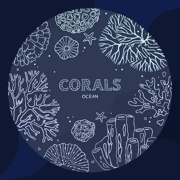 Plantas e fauna do mar e do oceano, isoladas no fundo azul. recifes de corais, desenhados em um estilo de arte linha. Vetor Premium