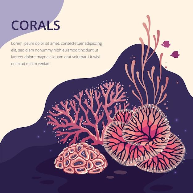 Plantas marinhas e fundo coral de aquário para impressão. ilustração de silhueta coral natureza. Vetor Premium