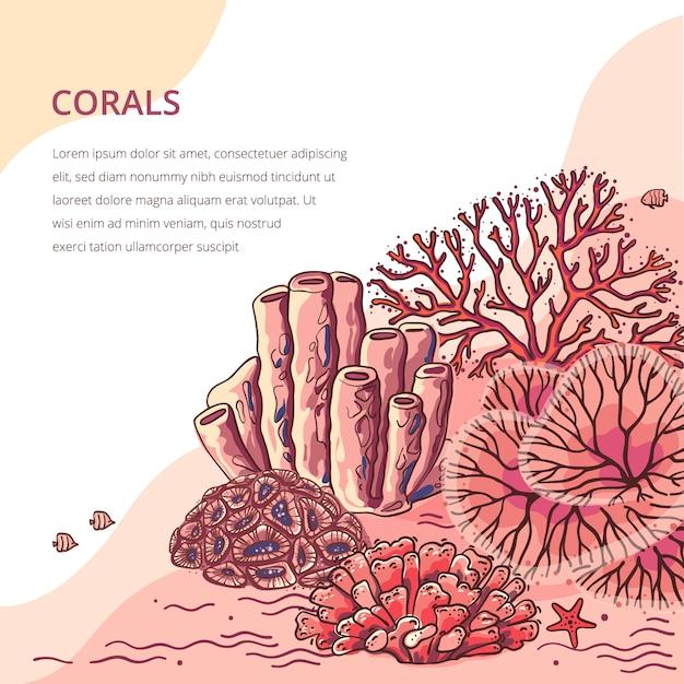 Plantas marinhas e fundo de coral de aquário. ilustração de silhueta coral natureza. Vetor Premium