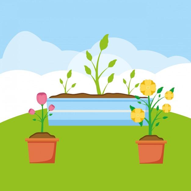 Plantas no jardim Vetor grátis
