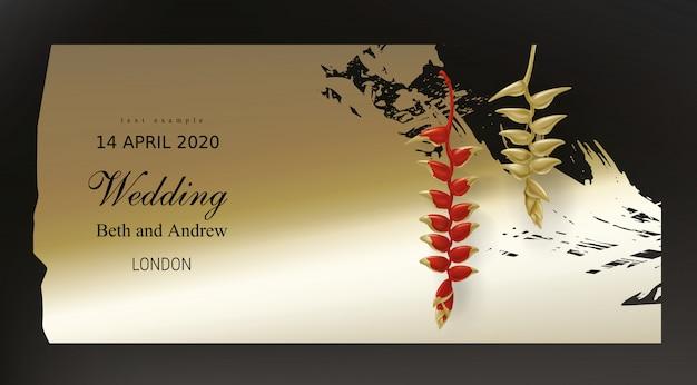 Plantas tropicais de ouro vermelhas no preto Vetor grátis