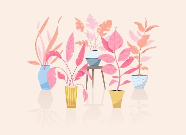 Plantas verdes em vasos de objetos envasando árvores vasos de flores pendurados estilização interior jardim doméstico plantando flores planta de casa em design de interiores vegetação no escritório Vetor Premium