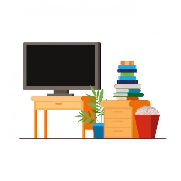 Plasma tv na prateleira de madeira com livros Vetor Premium