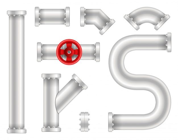 Plástico de água, óleo, gasoduto, canos de esgoto. Vetor Premium