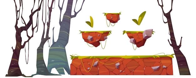 Plataforma com grama para interface de nível de jogo. conjunto de desenhos animados de elementos gui para plano de fundo de arcade ou animação por computador. recursos de design para jogos móveis ou de console Vetor grátis