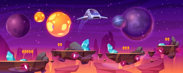 Plataforma de jogo espacial, planeta alienígena 2d gui Vetor grátis