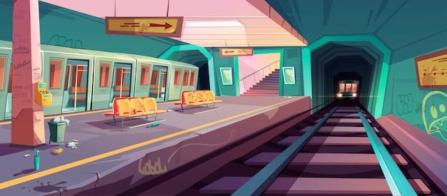 Plataforma de metrô bagunçado vazia com trens que chegam Vetor grátis
