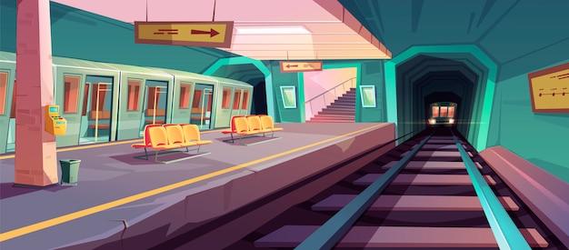 Plataforma de metrô vazia com trens que chegam Vetor grátis