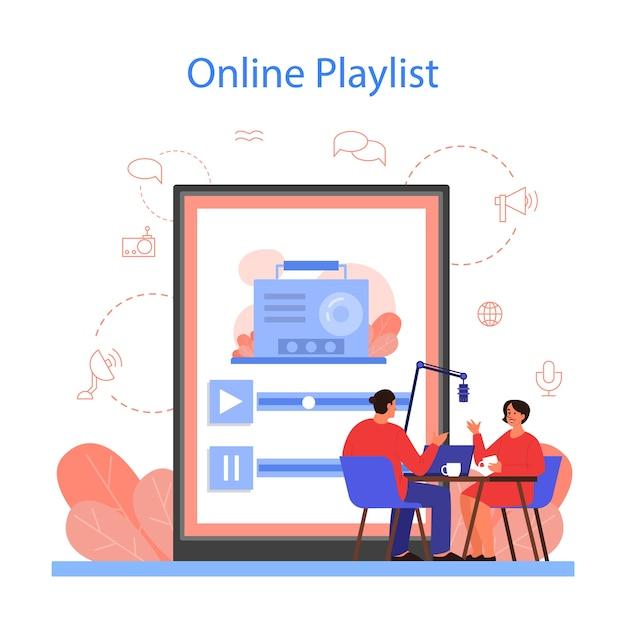Plataforma de playlist de rádio online Vetor Premium
