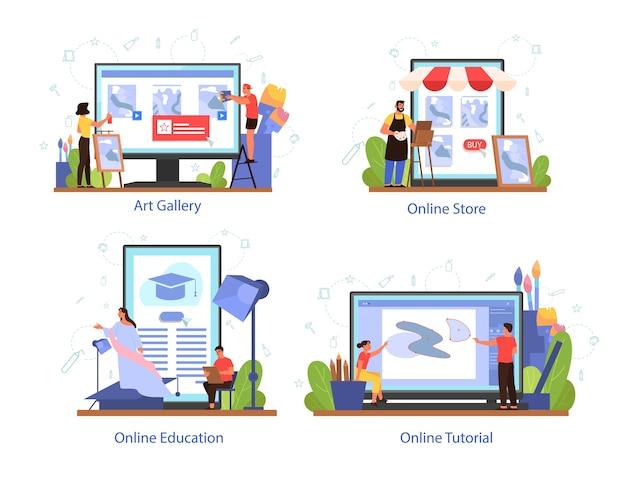 Plataforma de serviço para artista em conjunto de conceito de dispositivo diferente. idéia de profissionais e pessoas criativas. galeria de arte, loja do artista, curso online e tutorial. Vetor Premium