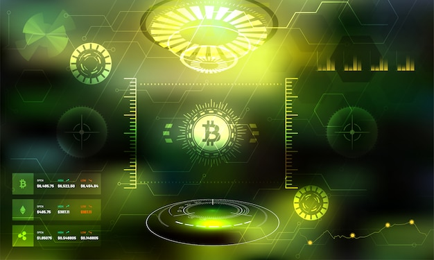 Plataforma de troca de criptomoedas futurista. Vetor Premium
