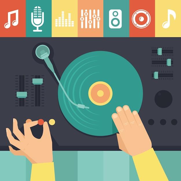 Plataforma giratória de vetor e dj mãos - conceito de música Vetor Premium