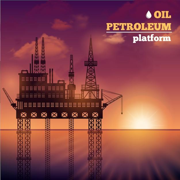 Plataforma petrolífera de petróleo Vetor grátis