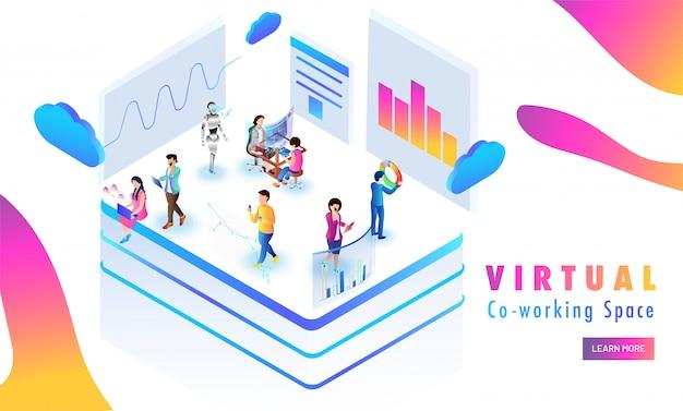 Plataforma virtual de co-working, dados de análise de pessoas em miniatura. Vetor Premium