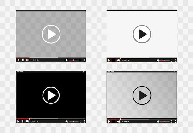 Player de vídeo para estilo simples de aplicativos móveis e da web. Vetor Premium