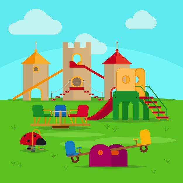 Playground colorido com escorregas e baloiços Vetor Premium