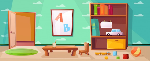 Playroom do jardim de infância com jogos, brinquedos, abc e porta aberta Vetor Premium