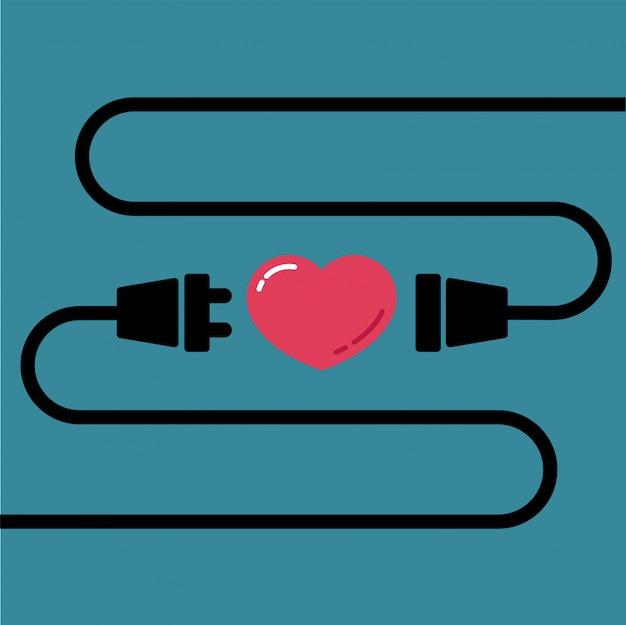 Plugue macho e fêmea para conectar por amor e coração Vetor Premium