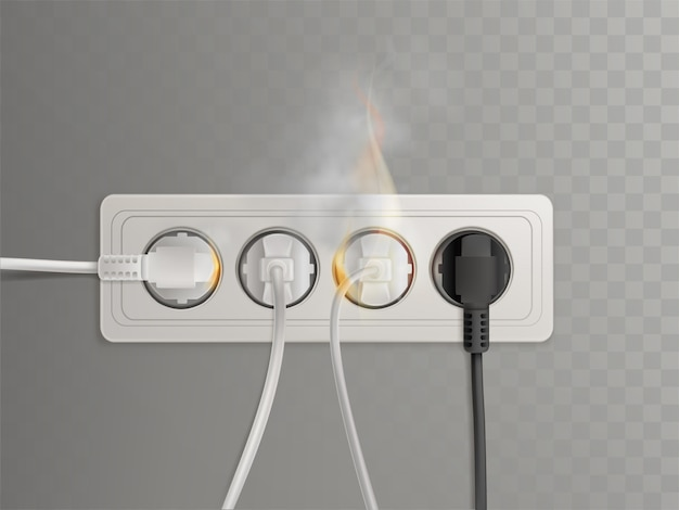 Plugues de energia flamejante na tomada elétrica horizontal Vetor grátis