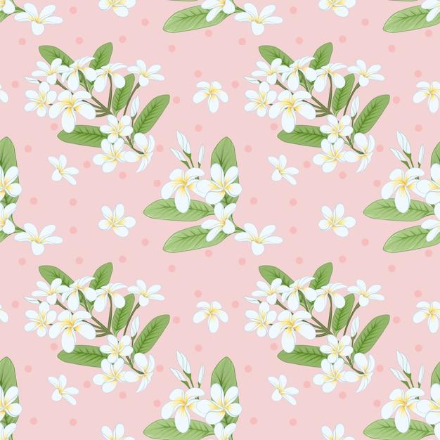 Plumeria flores sem costura padrão. Vetor Premium