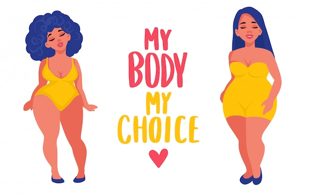 Plus size mulheres vestidas em trajes de banho. corpo positivo. Vetor Premium