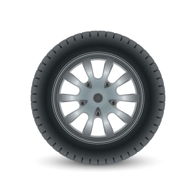Pneu de roda de carro realista Vetor Premium