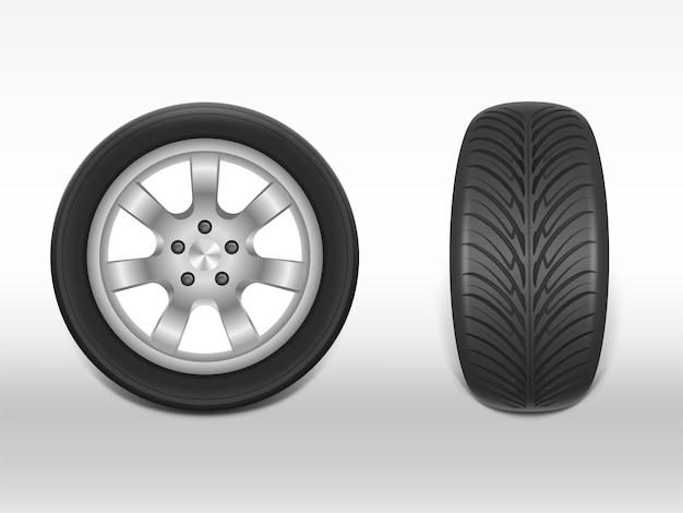 Pneu preto realista 3d no lado e vista frontal, brilhando de aço e roda de borracha para carro Vetor grátis