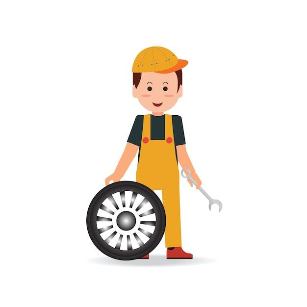 Pneu serviço homem trabalhador trocando pneu. Vetor Premium