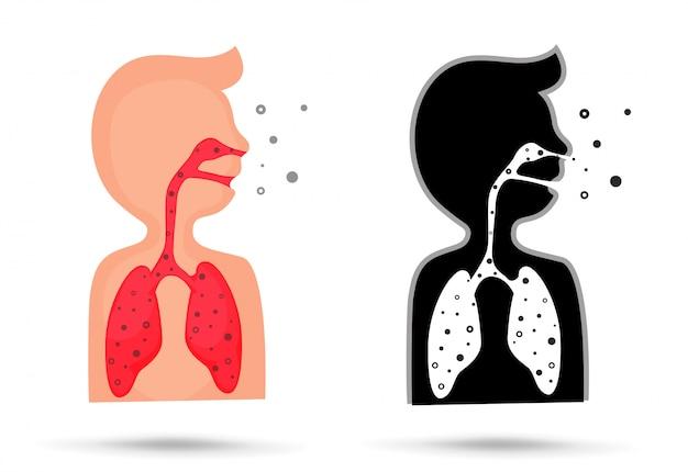 Pó pequeno de vapores tóxicos quando inalado irá prejudicar os pulmões Vetor Premium