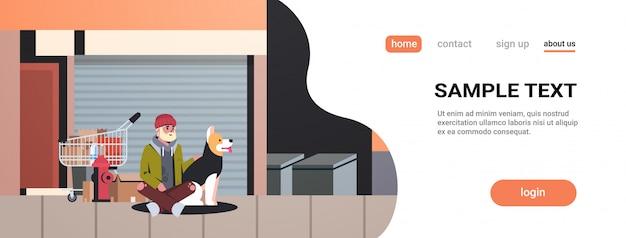 Pobre homem barbudo sentado com cara de mendigo cão abraçando animal melhor amigo rua edifícios de rua exterior Vetor Premium