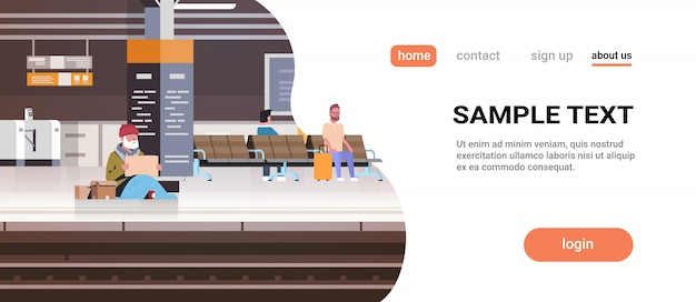 Pobre homem com sentado na estação de trem de chão implorando por ajuda mendigo segurando placa de sem-teto Vetor Premium