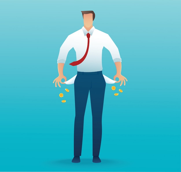 Pobre homem mostrando seus bolsos vazios no azul Vetor Premium